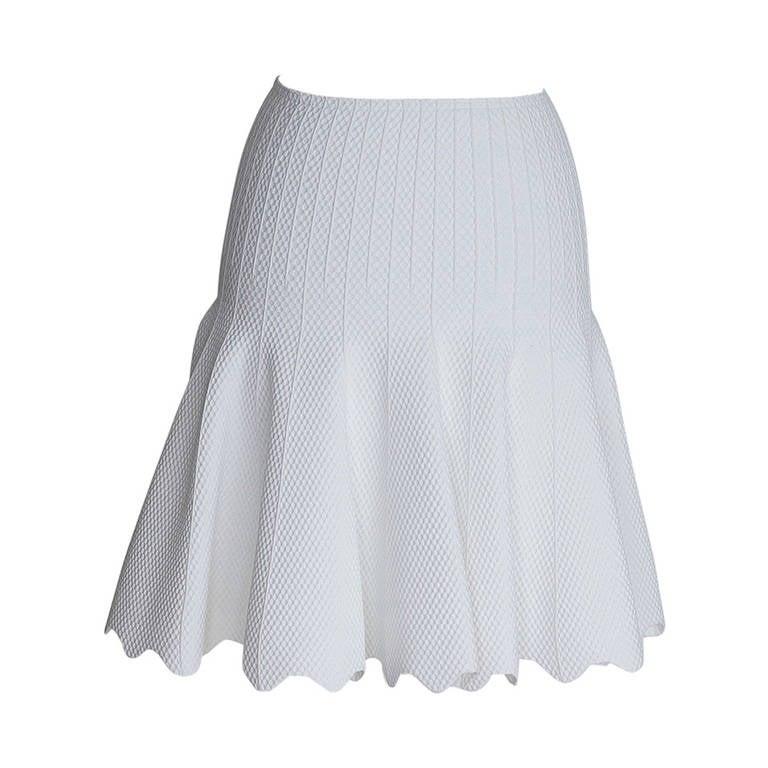 AZZEDINE ALAIA skirt white pique 38/4 Drop Dead Divine cut NWT 1