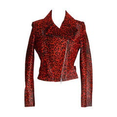 AZZEDINE ALAIA Jacket Motorcycle Baby Calf Red Leopard Print  42 nwt