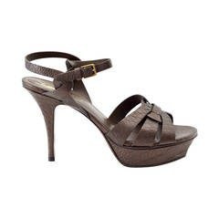 YVES SAINT LAURENT YSL shoe Tribute  bronzed textured leather 39  divine colour