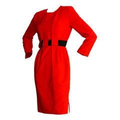 Wonderful James Galanos Lipstick Red Belted Long Sleeve Dress