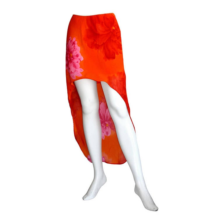 Pierre Cardin Vintage 1980s Runway 80s Hi Lo Pink Orange Ombré Mermaid Skirt For Sale
