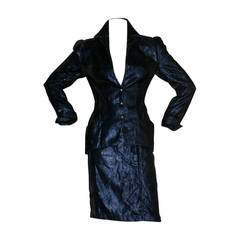 Vintage Thierry Mugler Blue Velvet Metallic Power Suit Avant Garde
