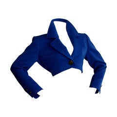 Yves Saint Laurent YSL Rive Gauche Royal Blue Cropped Blazer Bolero