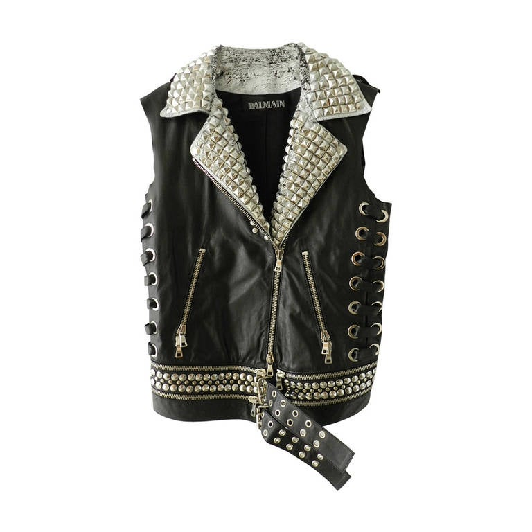 Balmain Studded Leather Runway Vest 1