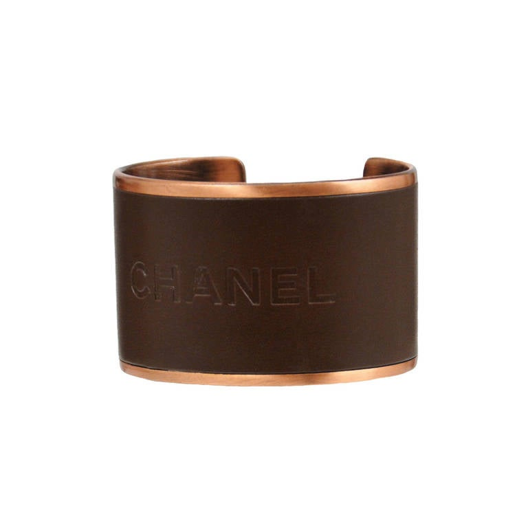 Chanel Copper and Leather Cuff 1