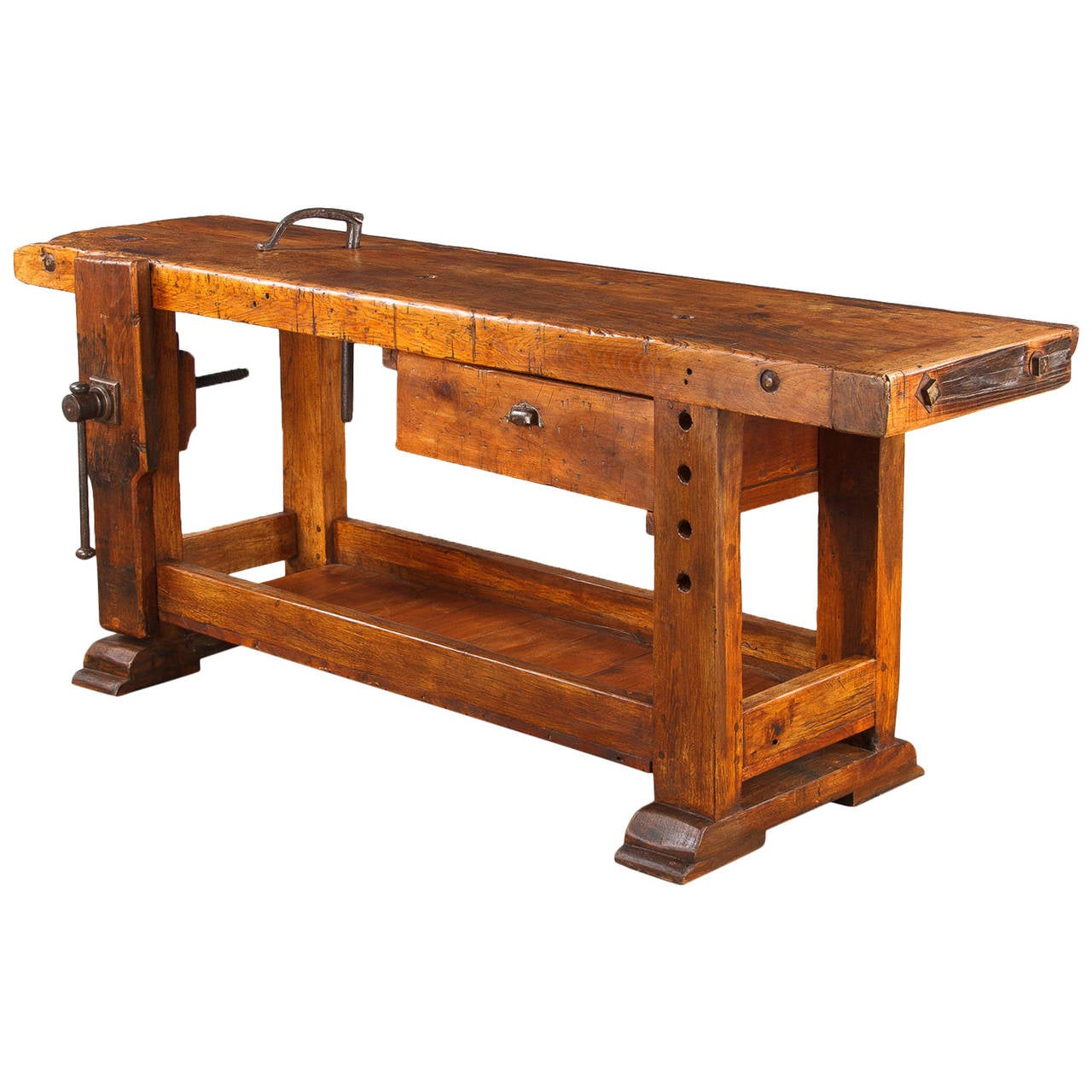 French Industrial Walnut Carpenter 39 S Workbench Late 1800s At 1stdibs