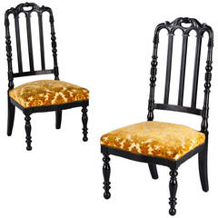 """Pair of French Napoleon III """"Chauffeuses"""" Low Chairs, 1870s"""
