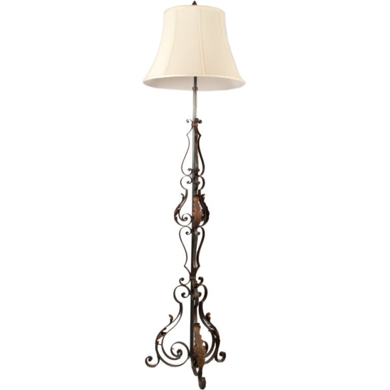french wrought iron floor lamp at 1stdibs. Black Bedroom Furniture Sets. Home Design Ideas
