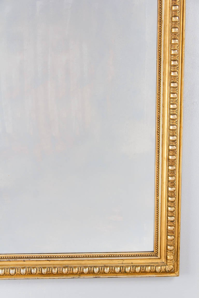French Transition Louis XV to Louis XVI Gilded Mirror, Mid-1800s In Good Condition In Austin, TX