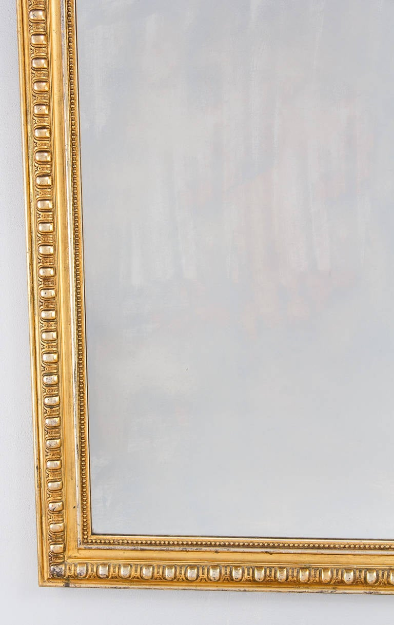 19th Century French Transition Louis XV to Louis XVI Gilded Mirror, Mid-1800s
