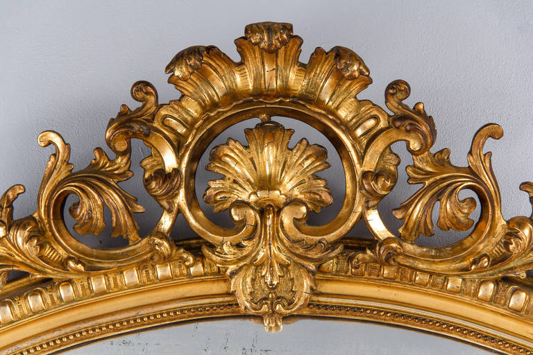 French Transition Louis XV to Louis XVI Gilded Mirror, Mid-1800s 1