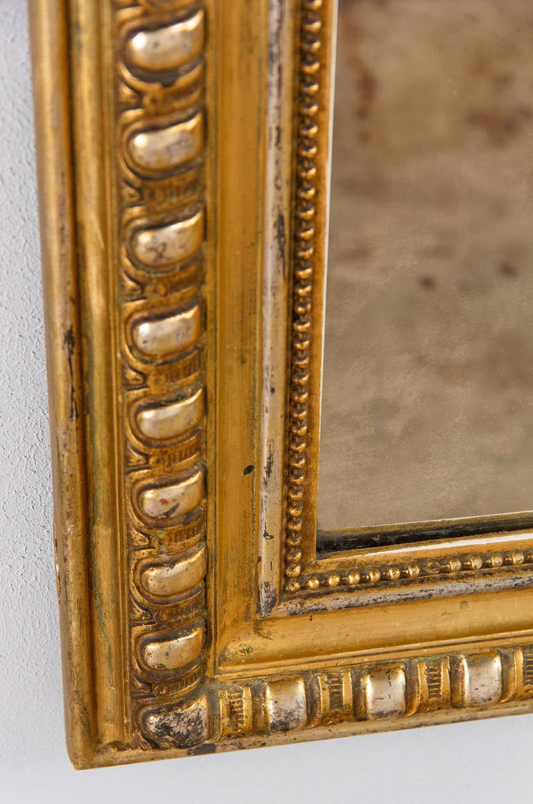 French Transition Louis XV to Louis XVI Gilded Mirror, Mid-1800s 3