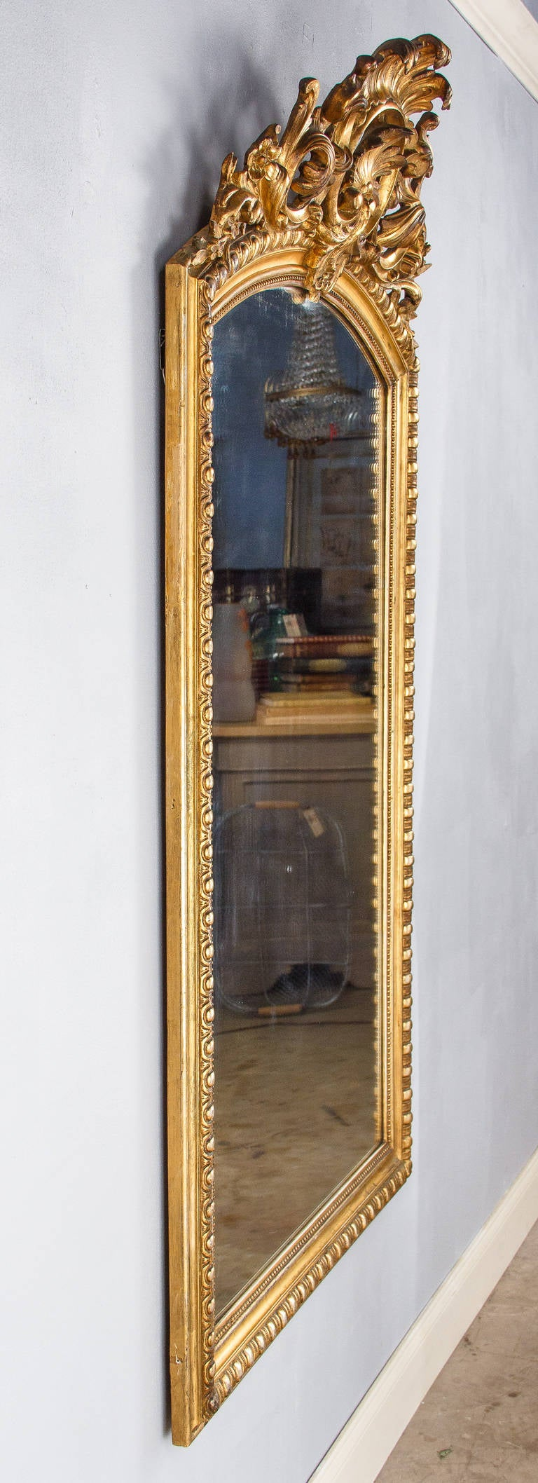 Stucco French Transition Louis XV to Louis XVI Gilded Mirror, Mid-1800s