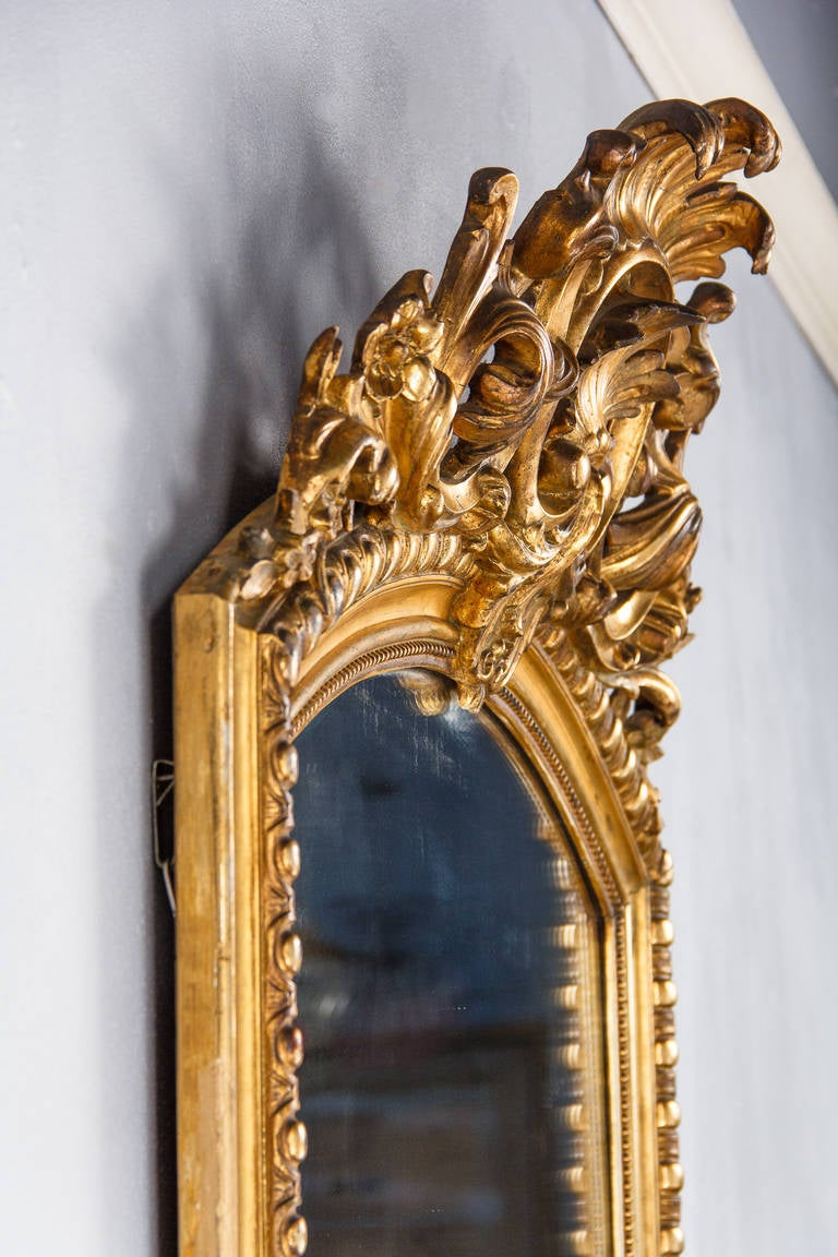 French Transition Louis XV to Louis XVI Gilded Mirror, Mid-1800s 2