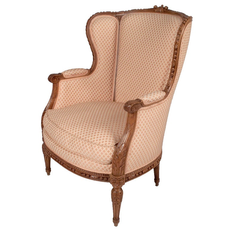 french louis xvi style bergere armchair at 1stdibs. Black Bedroom Furniture Sets. Home Design Ideas