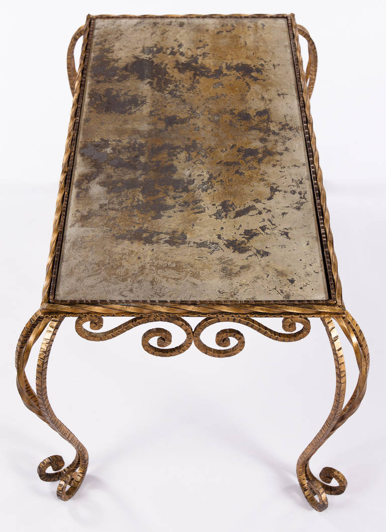 Mid-Century Modern French Midcentury Gilded Metal and Mirrored Top Coffee Table, 1940s For Sale