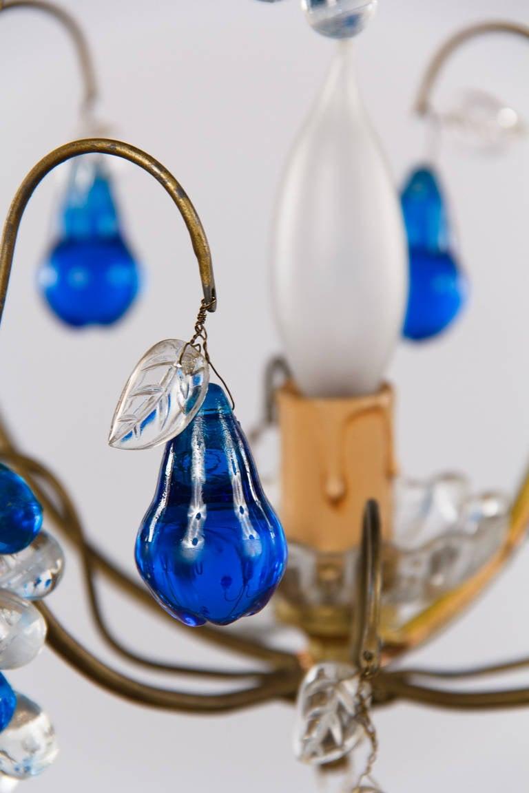 chandelier with cobalt blue glass pendants 1950s for sale at 1stdibs. Black Bedroom Furniture Sets. Home Design Ideas
