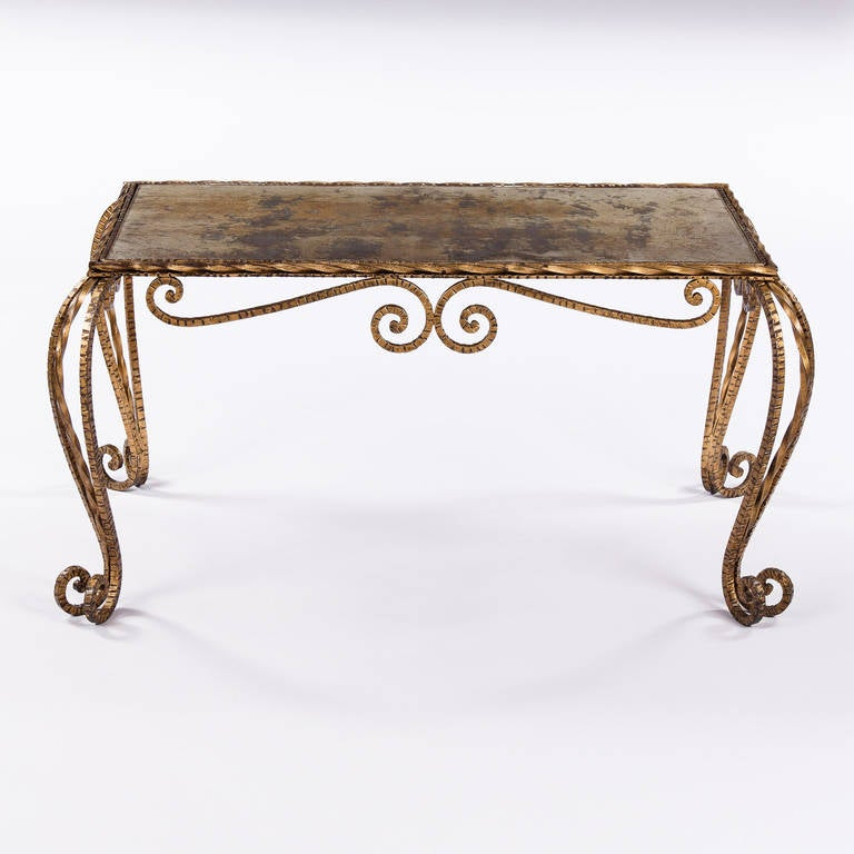 French Hammered Metal Cocktail Table At 1stdibs