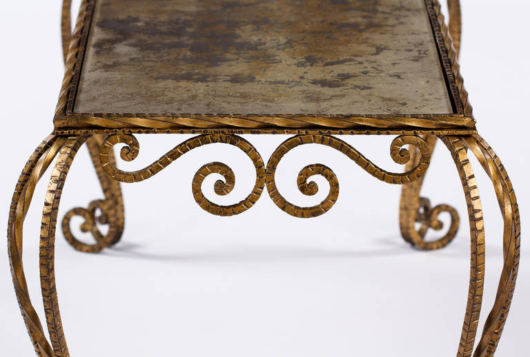 French Midcentury Gilded Metal and Mirrored Top Coffee Table, 1940s For Sale 1