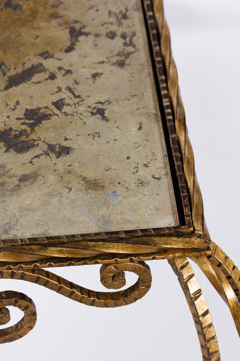 French Midcentury Gilded Metal and Mirrored Top Coffee Table, 1940s For Sale 2