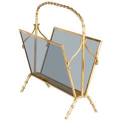 Maison Baguès Brass Magazine Holder, circa 1950s