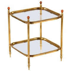 Mid-Century Brass Two-Tier Side Table from Spain