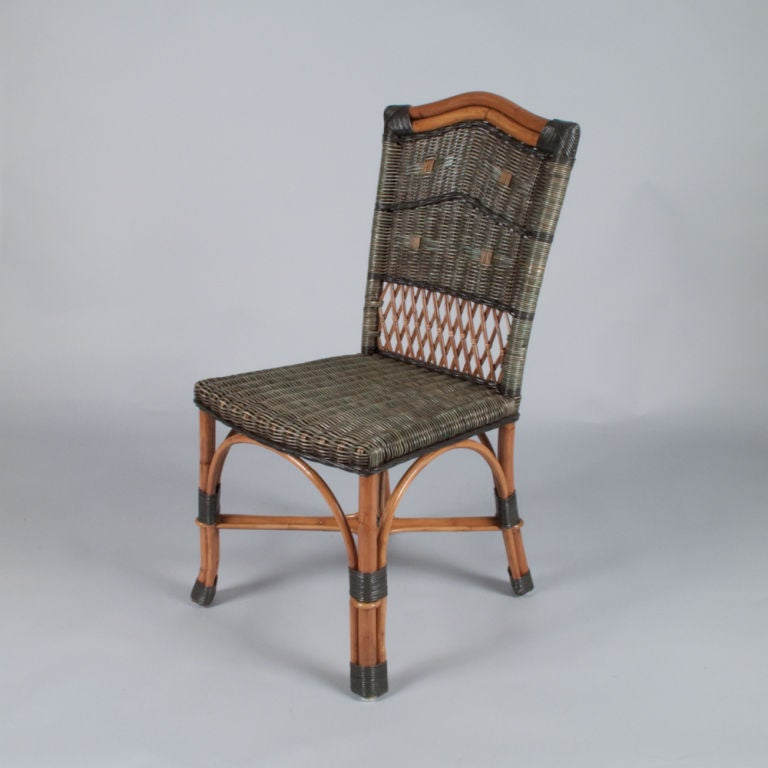 Set of Six French Rattan Chairs by Grange at 1stdibs