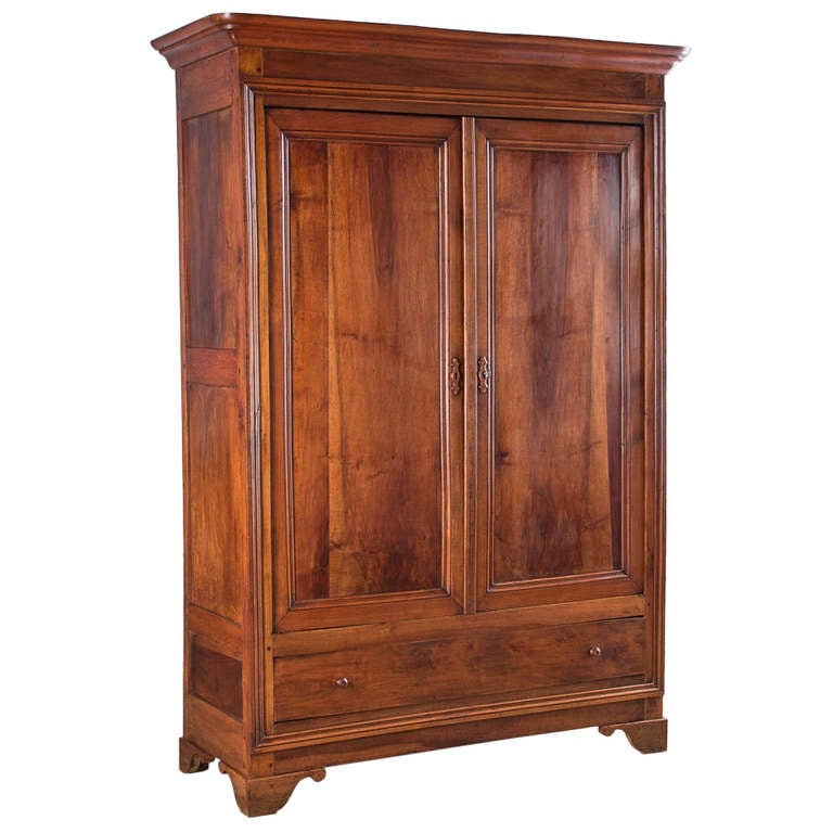 louis philippe period walnut armoire at 1stdibs. Black Bedroom Furniture Sets. Home Design Ideas