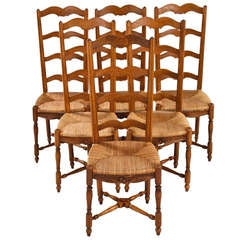 Set of Six French Country Rush Seat Chairs, 1920s