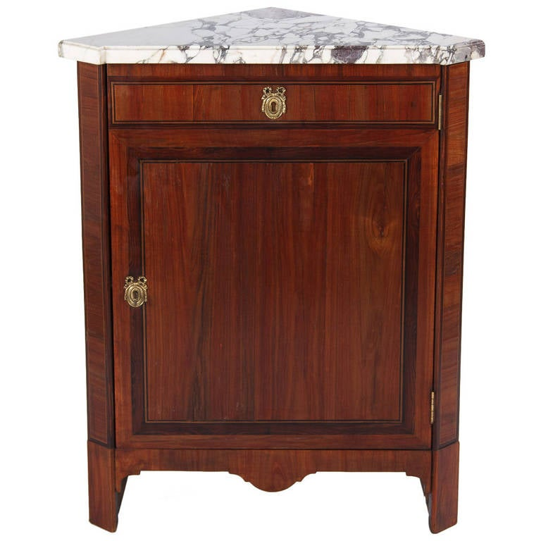 French Louis XVI Style Rosewood Corner Cabinet, 1900s For Sale