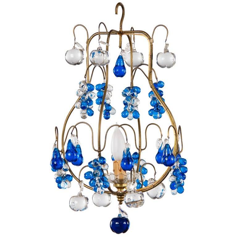Vintage Murano Chandelier with Cobalt Blue Glass Pendants, 1950s