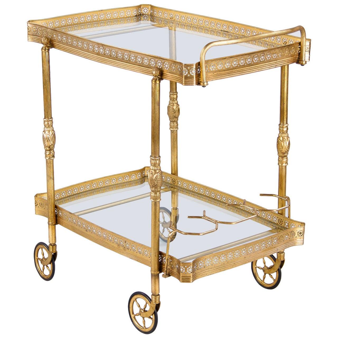 midcentury french brass bar cart at 1stdibs. Black Bedroom Furniture Sets. Home Design Ideas