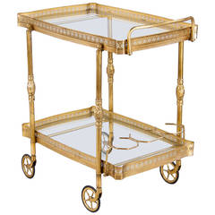 Midcentury French Brass Bar Cart
