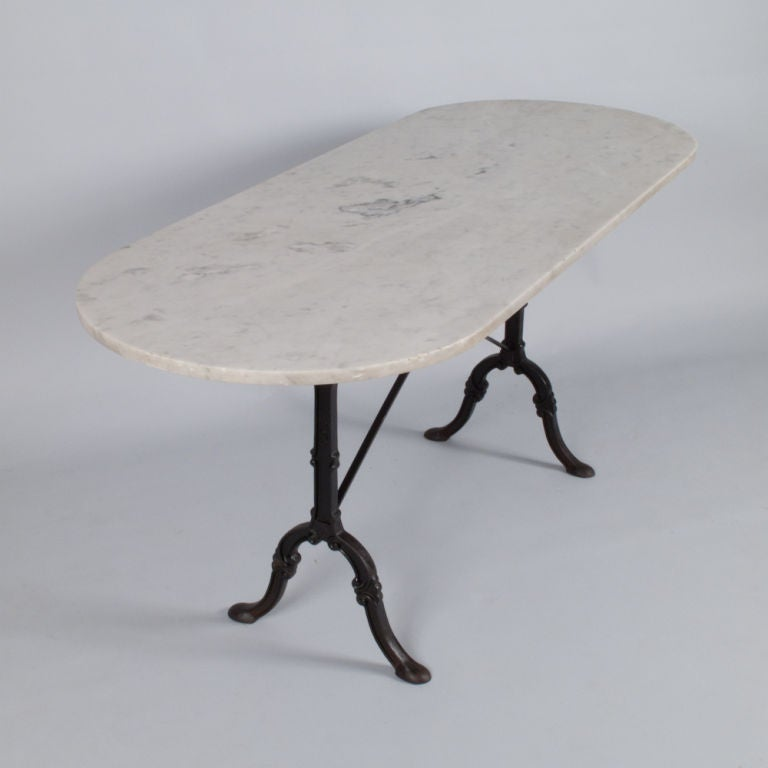 French Oval Bistro Table With Marble Top At 1stdibs