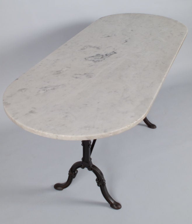 French Oval Bistro Table With Marble Top 3