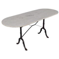 French Oval Bistro Table with Marble Top