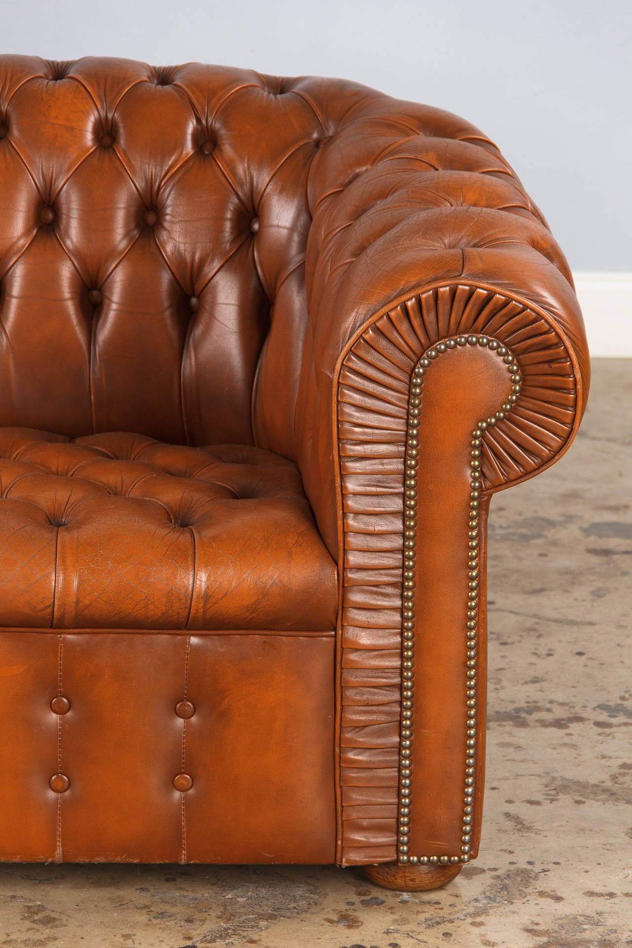 Leather Chesterfield Loveseat Sofa Circa 1940s At 1stdibs