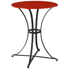 Red and Black French Iron Gueridon Table, 1920s