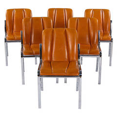 Set of Six Vintage Chrome and Leather Chairs from Spain, 1970s