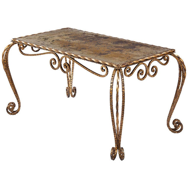 French Hammered Metal Cocktail Table With Mirrored Top 1940s For Sale At 1stdibs