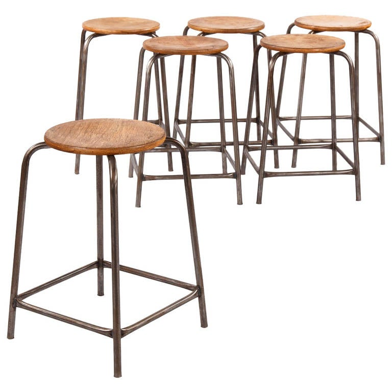 Set Of Six French Vintage Industrial Stools At 1stdibs