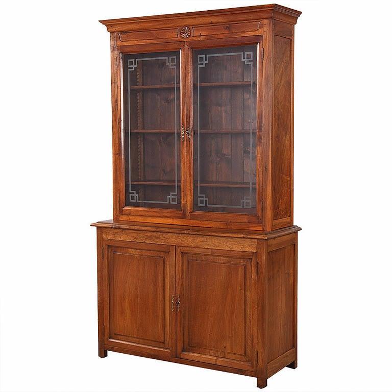 French Napoleon III Walnut Cabinet Bookcase, Late 1800s