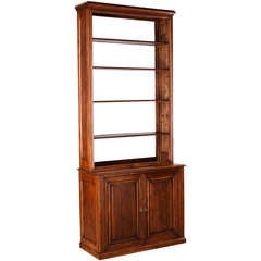 Early 1900s French Pine Bookcase with Cabinet