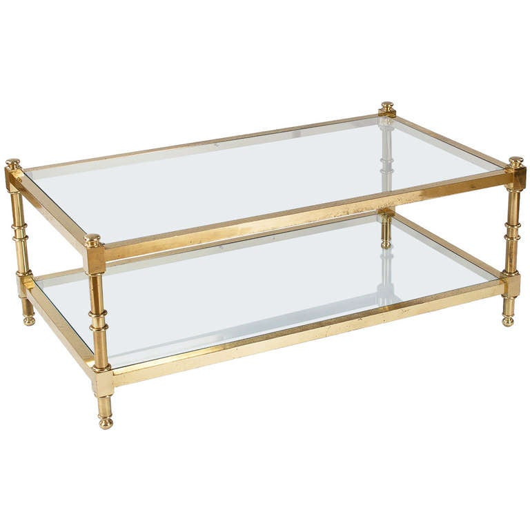 French Vintage Brass Coffee Table At 1stdibs