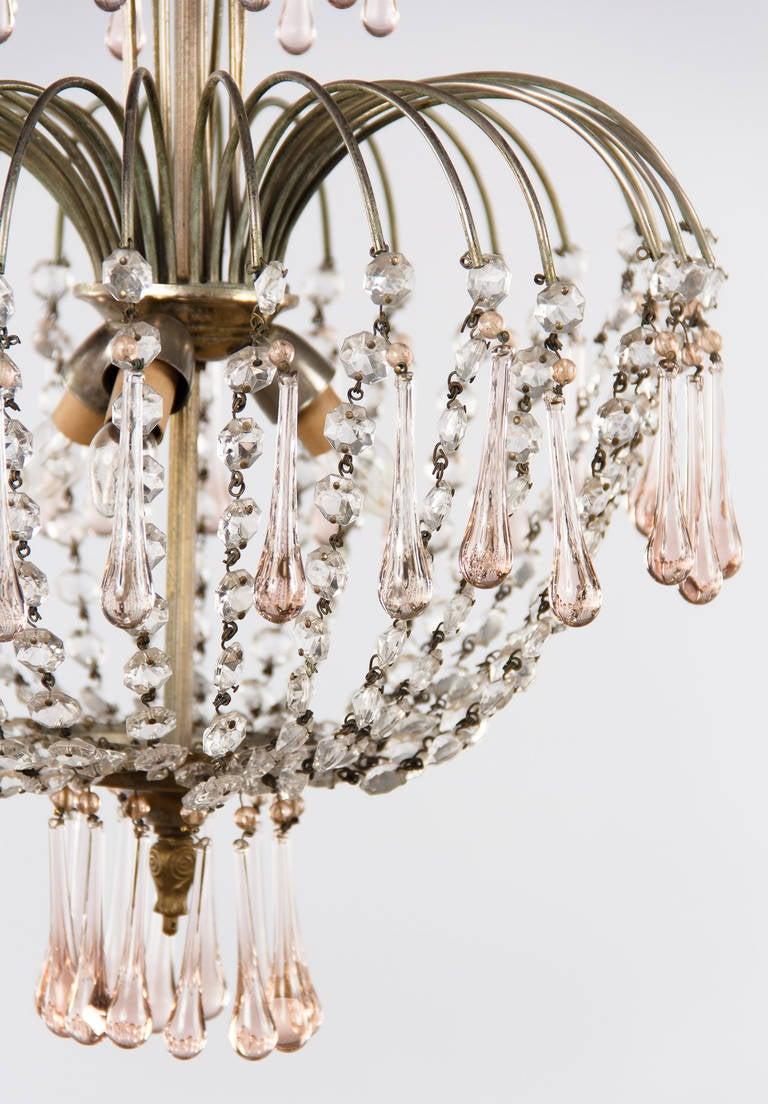 Vintage Murano Pink Teardrop and Crystal Chandelier 1950s