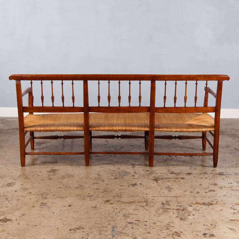 Wooden settee bench antique french cherry wood settee antique bench - French Proven 231 Al Radassie Bench Late 1800s At 1stdibs