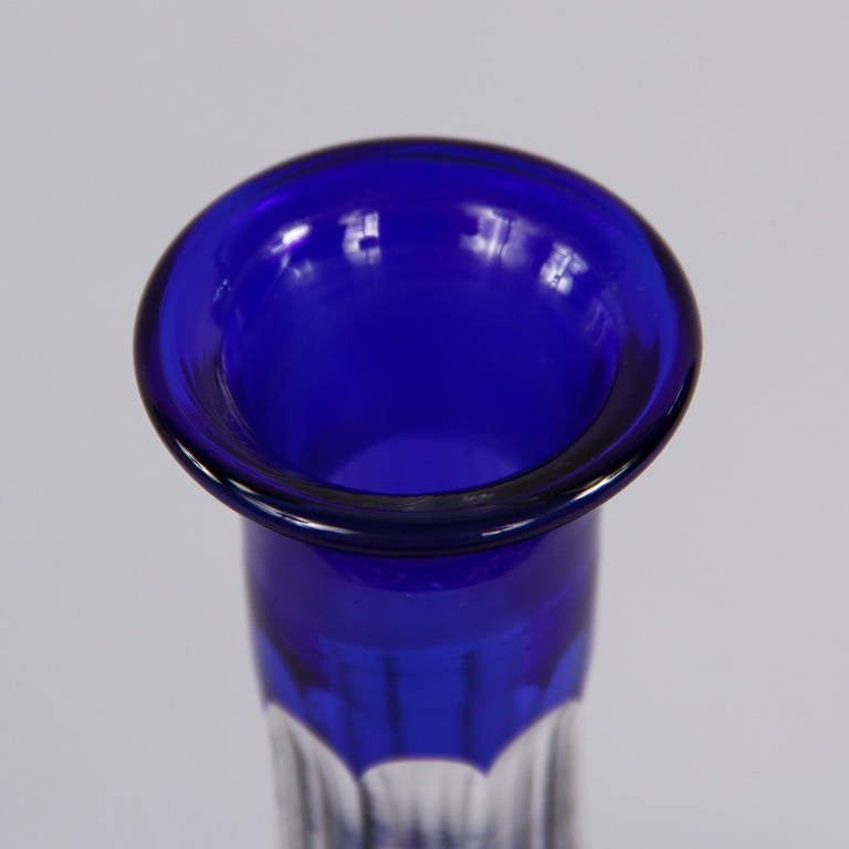 Early 1900s Blue Bohemia Glass Decanter 6