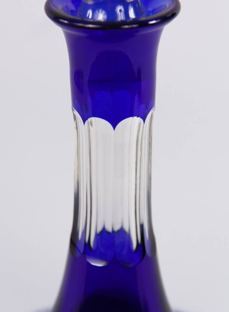 Early 1900s Blue Bohemia Glass Decanter 7