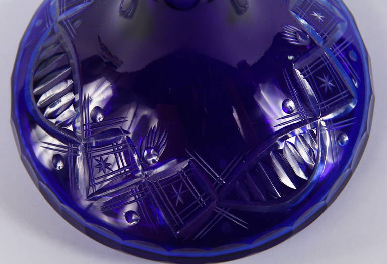 Early 1900s Blue Bohemia Glass Decanter For Sale 1