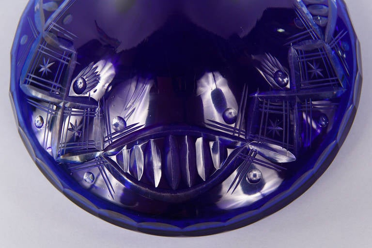 Early 1900s Blue Bohemia Glass Decanter For Sale 2